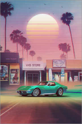 Premium poster  Synthwave Sunset Drive - Denny Busyet