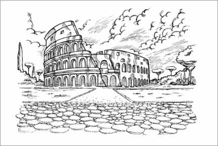 Colouring poster Colosseum
