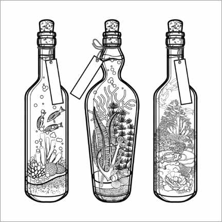 Colouring poster  Message in a bottle