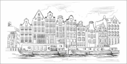 Colouring poster  Canal in Amsterdam