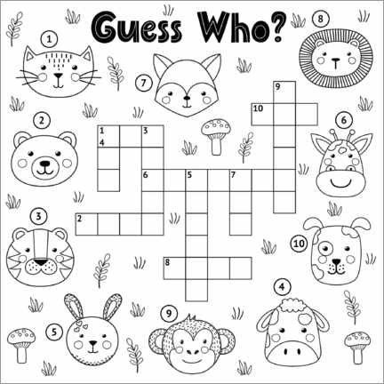 Colouring poster Animal puzzles