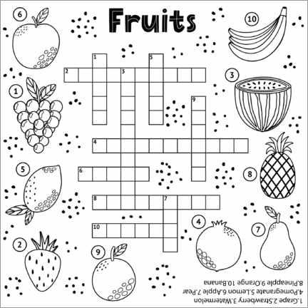 Colouring poster Fruit puzzles