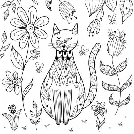 Colouring poster  Cat in the garden