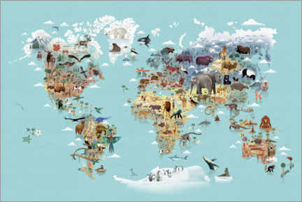 Canvas print  World Map of Animals - Dieter Braun