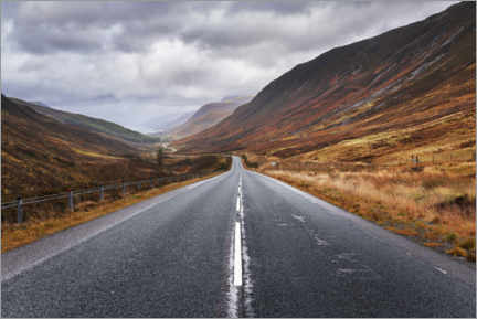 Premium poster  Endless road in Scotland - The Wandering Soul