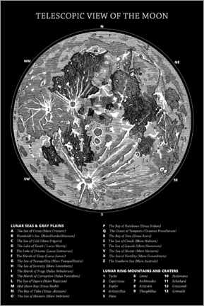 Canvas print  Moon map (english, black) - Wunderkammer Collection