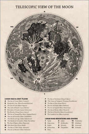 Canvas print  Moon map (english) - Wunderkammer Collection