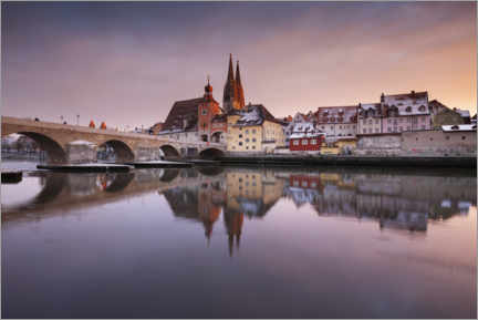 Acrylic print  Regensburg in winter at sunset - The Wandering Soul