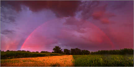 Wood print  Rainbow at sunset with lightning - Benjamin Butschell