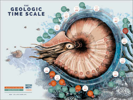 Canvas print  The Geological Time Scale (English) - Velozee