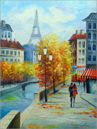 Acrylic print  Autumn in the streets of Paris - Olha Darchuk