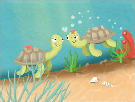 Premium poster  Two turtles - Julia Reyelt