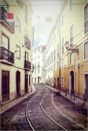 Canvas print  Tracks in an alley in Lisbon
