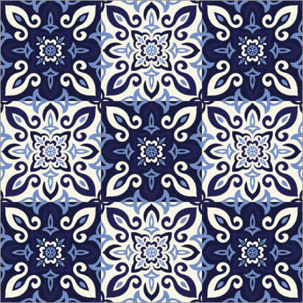Canvas print  Pattern in Delft blue style