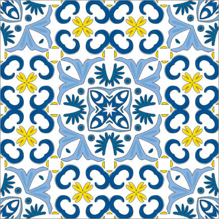 Canvas print  Azulejo pattern blue-yellow