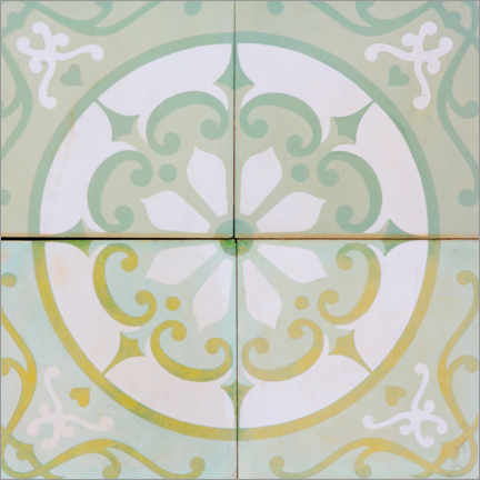 Canvas print  Azulejo tile pattern pastel colors