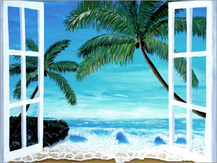 Premium poster  Window with a view of the Caribbean beach - M. Bleichner