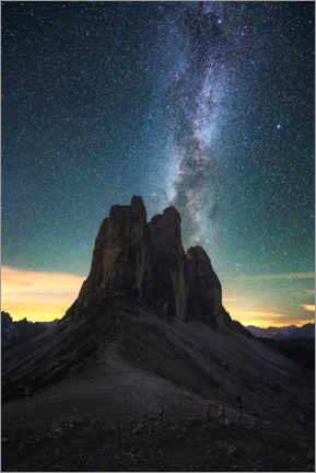 Premium poster  Milky Way over the Three Peaks, Dolomites - Matthias Köstler