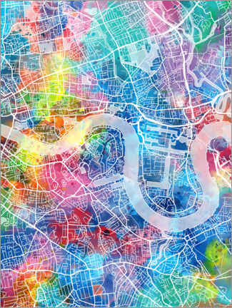 Aluminium print  London city map - Bekim Mehovic