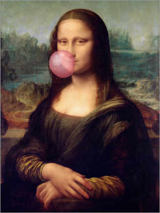 Aluminium print  Mona Lisa with Bubble Gum