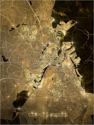 Premium poster  Copenhagen city map gold - Bekim Mehovic