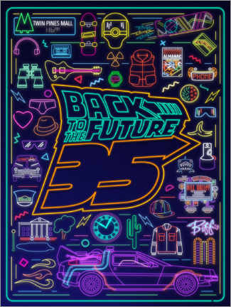 Wood print  Back to the future - neon items
