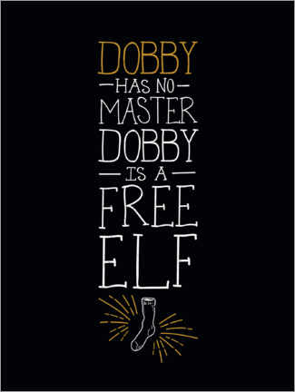Acrylic print  Dobby has no master - Quote