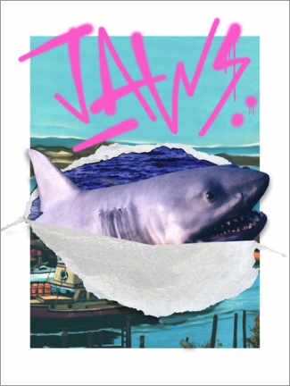 Gallery print  Jaws - retro collage