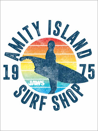 Wood print  Amity Island Surf Shop