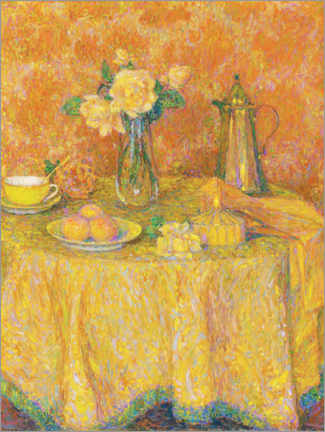 Premium poster  The yellow harmony table - Henri Le Sidaner
