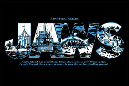 Premium poster  Jaws - Perfect feeding ground, black