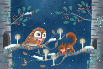 Premium poster Owl and squirrel exchanging gifts