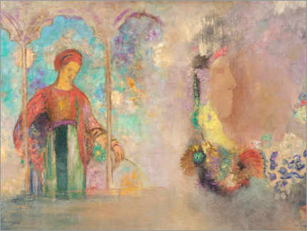 Acrylic print  Woman in a Gothic Arcade: Woman with Flowers - Odilon Redon