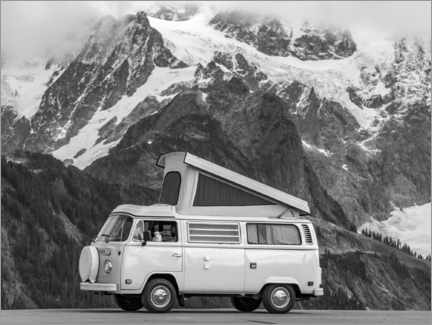 Wood print  Camping Bus in front of a Mountain Landscape - Moritz Wolf
