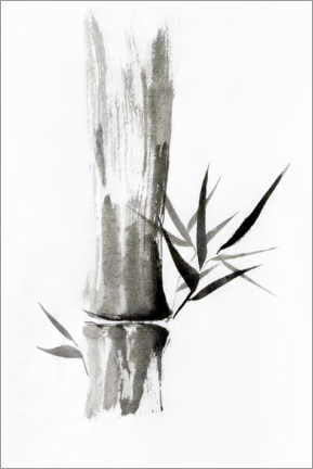 Canvas print  Bamboo stem with leaves