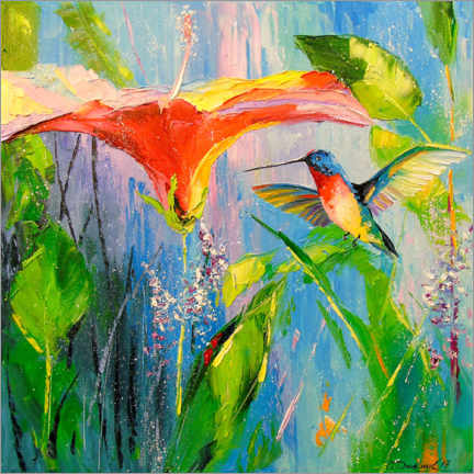 Canvas print  Hummingbird and flower - Olha Darchuk
