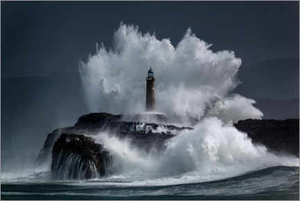 Wood print  Lighthouse in the waves - Jesus Concepcion Alvarado