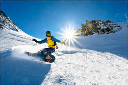 Premium poster Snowboarder with splitboard rides in the snow