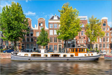 Premium poster Architecture and boat in the canals of Amsterdam