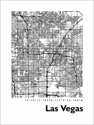 Canvas print  Las Vegas city map - 44spaces