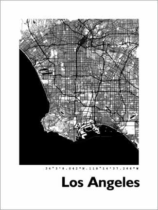Canvas print  Los Angeles city map - 44spaces