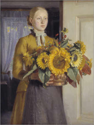 Acrylic print  The girl with the sunflowers - Michael Peter Ancher