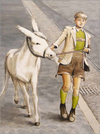 Premium poster  Boy with Donkey - Sarah Morrissette