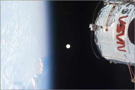 Premium poster Earth, Moon and Hubble