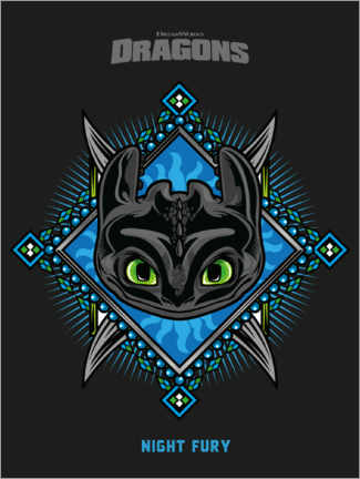 Aluminium print  Night Fury - Tribal