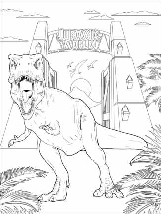 Colouring poster  Tyrannosaurus rex at the gate