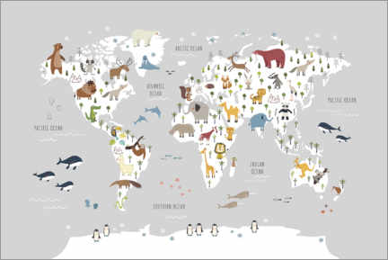 Canvas print  World map wih animals (grey) - Marta Munte