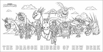 Colouring poster  The dragon riders of New Berk