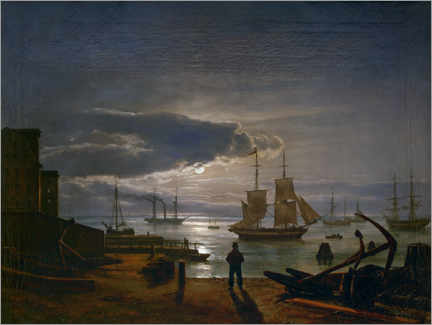 Premium poster  The Copenhagen harbor in the moonlight - Johan Christian Clausen Dahl