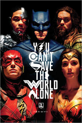 Canvas print  Justice League - Can't save the world alone